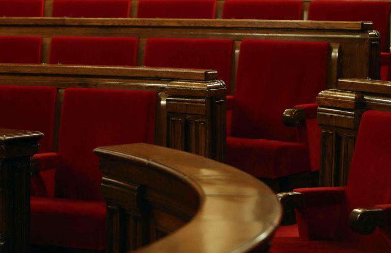 Vista del escaño ocupado en la pasad legislatura por el presidente de la Generalitat en el hemiciclo del Parlament.