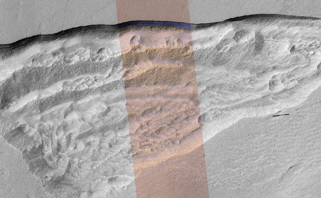 La sonda muestra las zonas heladas de Marte.