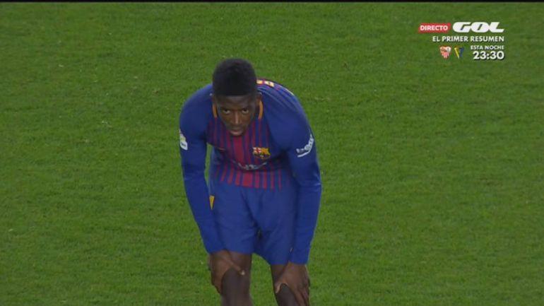 Dembelé, durante el partido ante el Celta de Copa