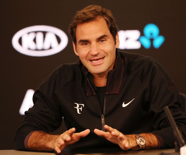 Federer, en la sala de prensa del Open de Australia