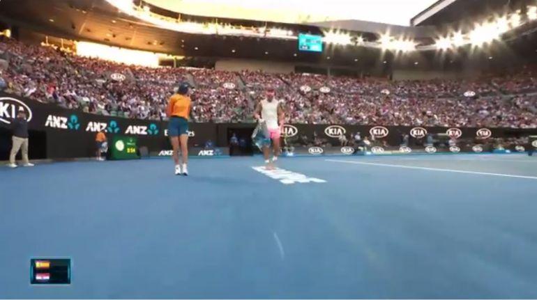 Rafa Nadal, en su partidos de cuartos de final del Open de Australia.