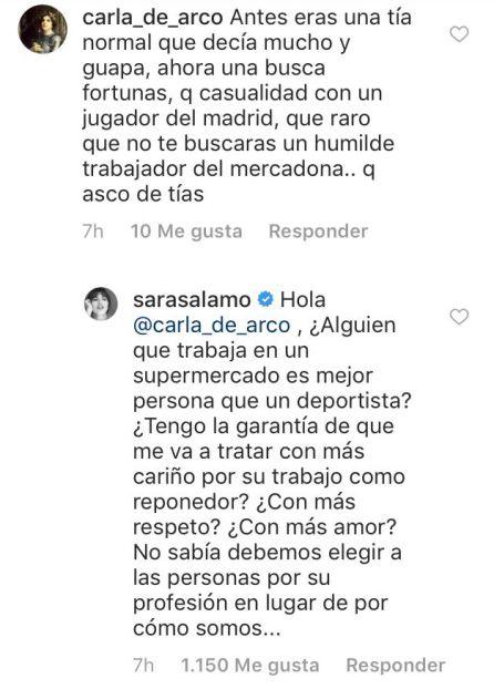 El comentario y la respuesta de Sara Sálamo