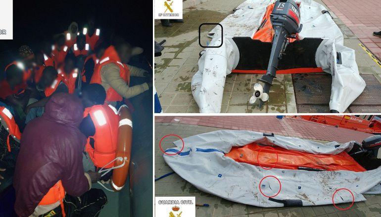 Imagen de archivo del rescate de 31 inmigrantes que iban a bordo de una patera pinchada en Melilla.