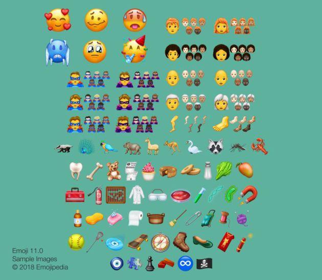 Los nuevos emojis que llegarán a tu teléfono móvil en 2018.