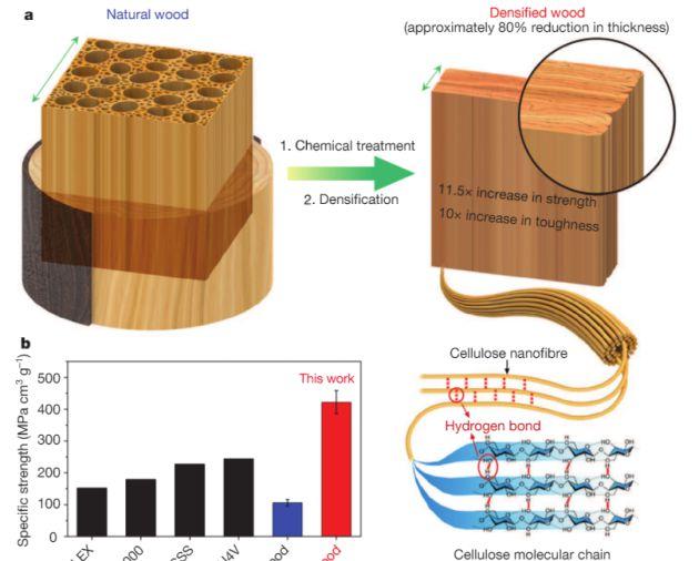 El proceso de densificación que permite mejorar la resistencia de la madera.