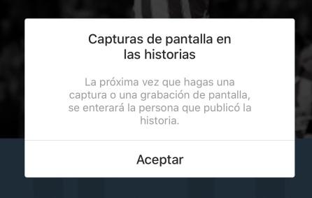 Este es el mensaje que aparece en algunos dispositivos al hacer una captura a una 'story'