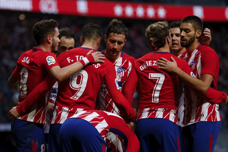 Los jugadores del Atlético de Madrid celebran un gol en el Wanda Metropolitano.