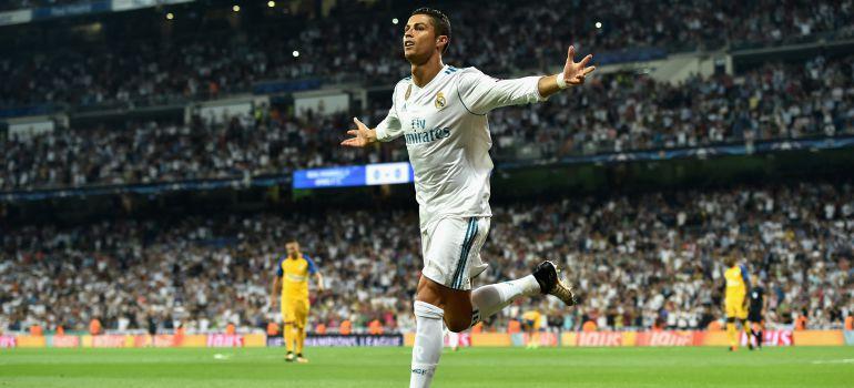 Cristiano Ronaldo celebra un gol en el Santiago Bernabéu