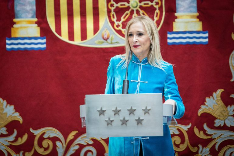 Cristina Cifuentes durante un acto en la sede de la Comunidad de Madrid