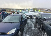 El granizo provoca un accidente múltiple de 30 vehículos en La Rioja