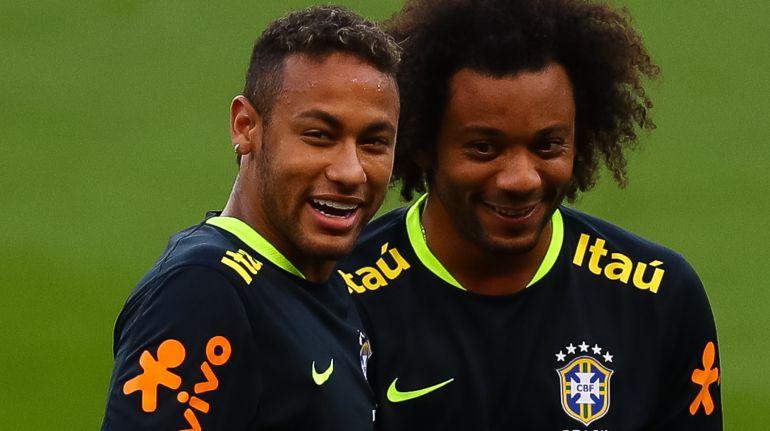 Marcelo y Neymar, durante un entrenamiento de la selección brasileña