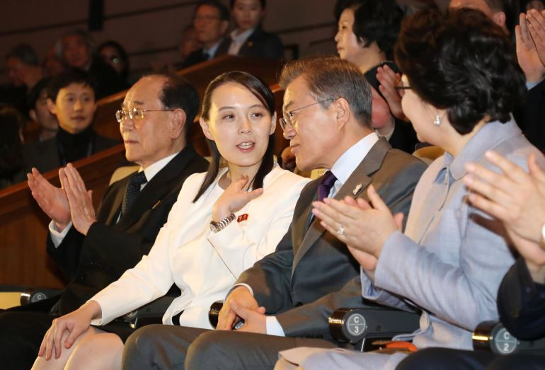 South Korean President Moon Jae-in talks with Kim Yo Jong, the sister of North Korea's leader Kim Jong Un, while watching North Korea's Samjiyon Orchestra's performance in Seoul, South Korea, February 11, 2018.   Yonhap via REUTERS   ATTENTION EDITORS - THIS IMAGE HAS BEEN SUPPLIED BY A THIRD PARTY. SOUTH KOREA OUT. NO COMMERCIAL OR EDITORIAL SALES IN SOUTH KOREA. NO RESALES. NO ARCHIVE.
