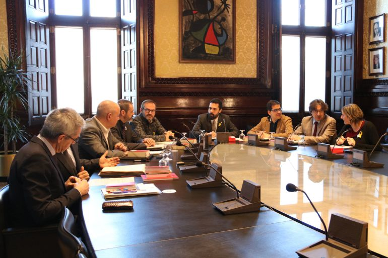Imagen de la reunión de la Mesa del Parlament de este martes 13 de febrero
