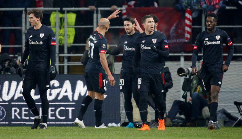 Aduriz celebra un gol ante el Spartak en el partido de la Europa League.