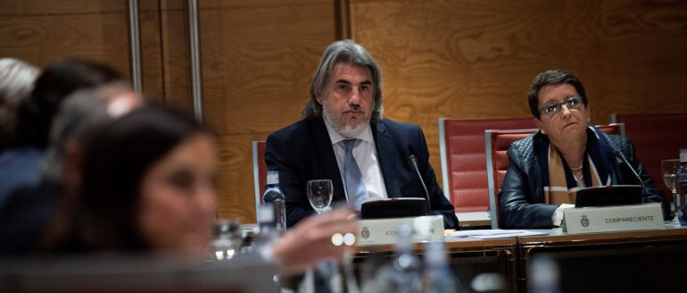 La presidenta de la Plataforma por las Garantías Ciudadanas, Inmaculada Sánchez Ruiz (d), y el abogado de la entidad, Alberto Ganga, en el Senado