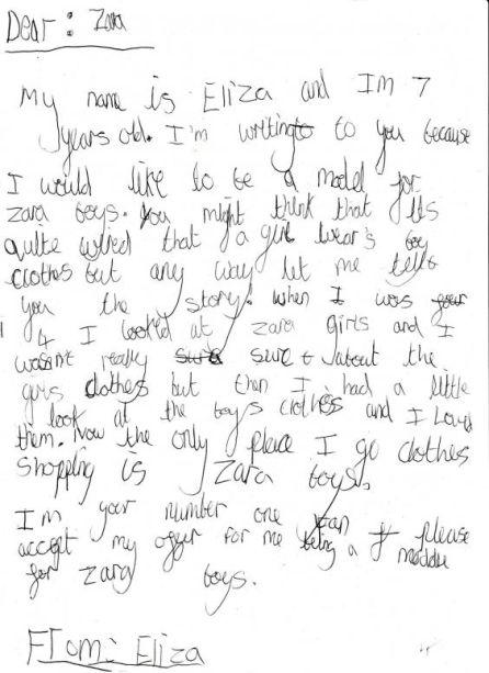 La carta de Eliza dirigida a Zara.