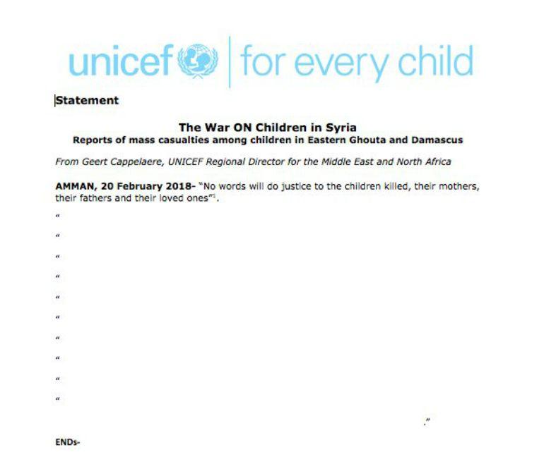 """Comunicado """"sin palabras"""" de UNICEF por la muerte de niños en los bombardeos sobre Ghouta, en las afueras de Damasco"""