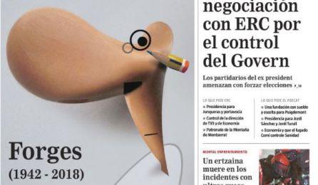 """Muere Forges: """"Os quiero, afirmo"""", la viñeta póstuma de Forges en 'El País'"""