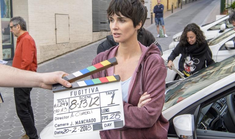 Paz Vega en el rodaje de 'Fugitiva' en Benidorm