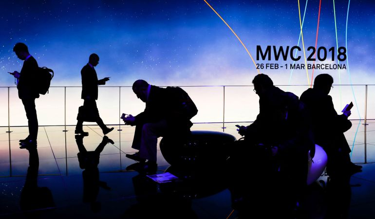 Visitantes en la Mobile World Congress celebrado en Barcelona.