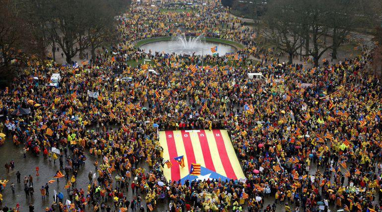 Manifestación independentista en el centro de Bruselas