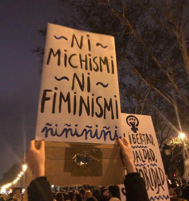 Pancarta en la marcha celebrada en Madrid.