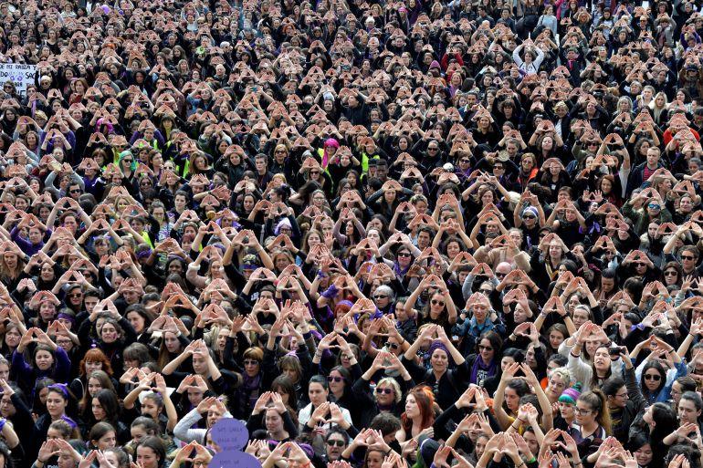 Concentración de mujeres en Bilbao, una de las imágenes utilizadas por The New York Times