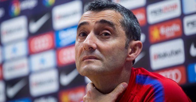 Ernesto Valverde, durante la rueda de prensa previa al duelo ante el Málaga