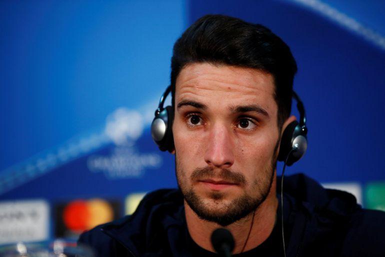 Sergio Rico durante la rueda de prensa previa al encuentro de Champions League entre el Manchester United y el Sevilla.