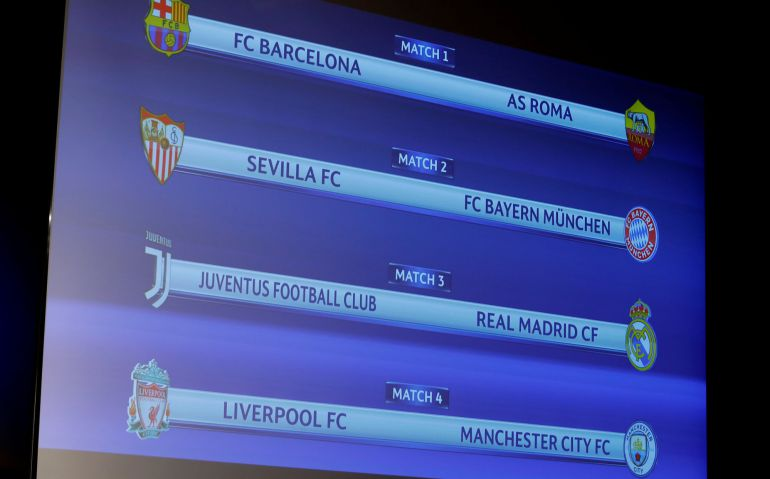 Sorteo: Barcelona - Roma, Juventus - Real Madrid y Sevilla - Bayern ...