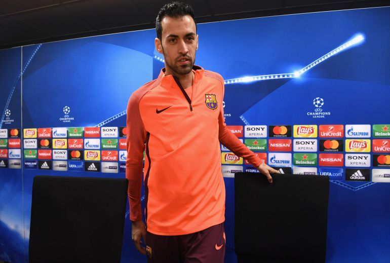 Sergio Busquets, en la rueda de prensa previa al partido ante el Chelsea.