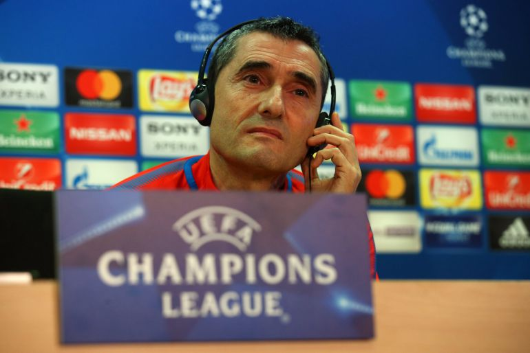 Ernesto Valverde, en la sala de prensa