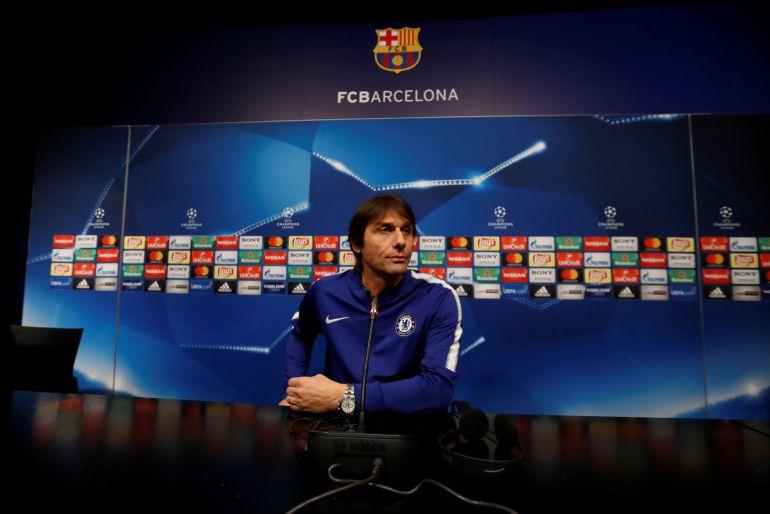 Antonio Conte durante la rueda de prensa previa al encuentro de Champions League entre el FC Barcelona y el Chelsea.