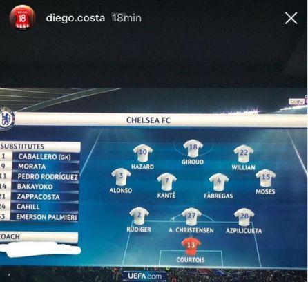 El último desprecio de Diego Costa a Conte en Instagram