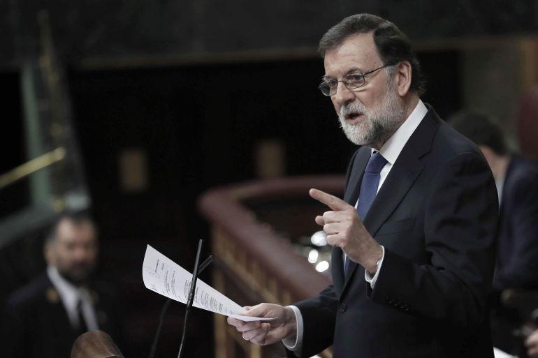 El presidente del Gobierno, Mariano Rajoy, durante su intervención en la sesión plenaria en el Congreso.