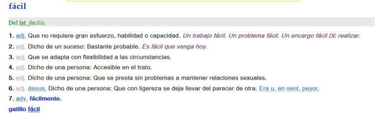 Captura del diccionario online de la RAE con la corrección en la quinta acepción del adjetivo 'fácil'