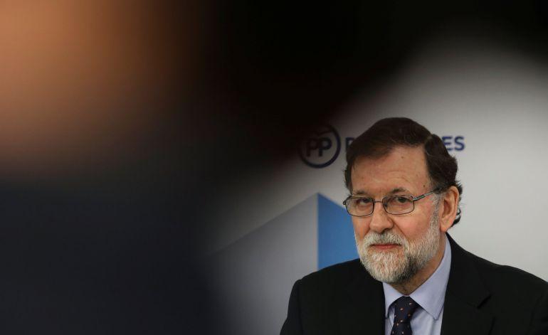 El presidente del Gobierno, Mariano Rajoy, durante el Comité Ejecutivo Nacional del PP