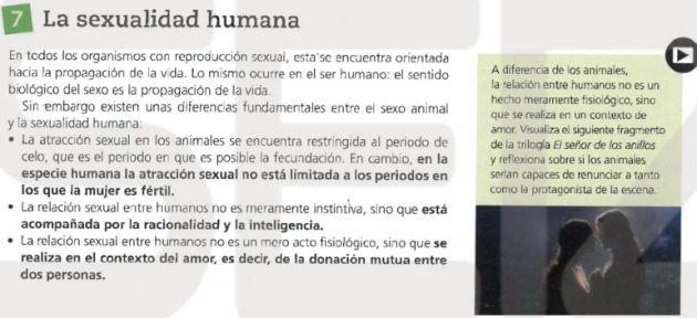 """Un libro de Biología para alumnos de 14 años recomienda """"abstinencia y fidelidad"""" contra enfermedades de transmisión sexual"""