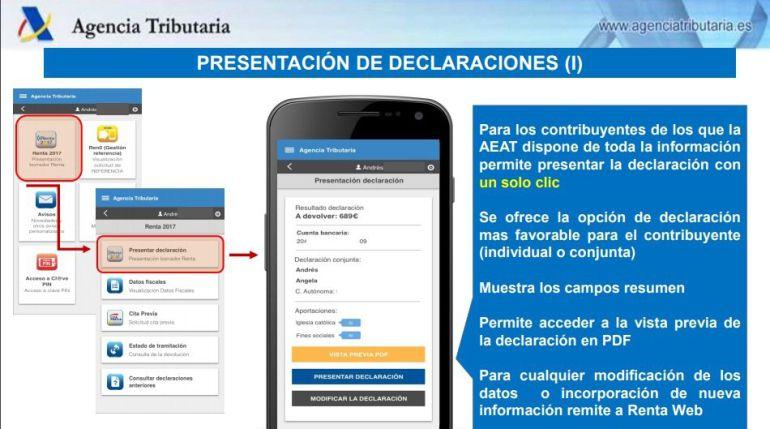 Presentación de Agencia Tributaria sobre la declaración de la Renta en el móvil