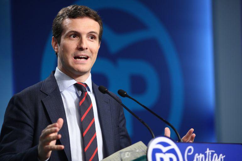 Rueda de prensa del vicesecretario de Comunicación del PP, Pablo Casado