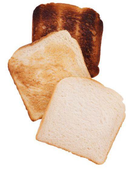 Mejor tostar el pan hasta el dorado, sin llegar a los tonos oscuros.