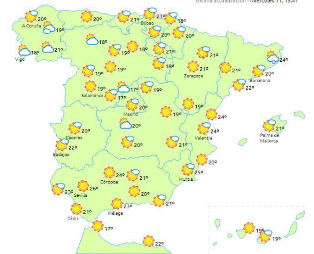 El mapa del martes de la semana que viene está protagonizado por el sol, según las previsiones a largo plazo.