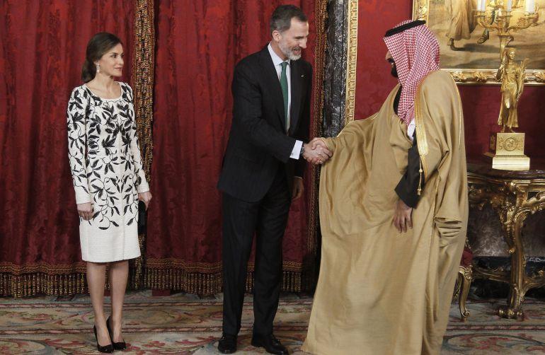 El rey Felipe VI, la reina Leitizia y el heredero saudí Mohammad bin Salman