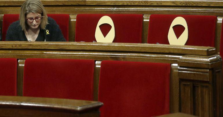 La líder de JxCat, Elsa Artadi, en el Parlament el pasado 5 de abril