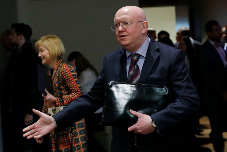 El embajador ruso ante Naciones Unidas, Vassily Nebenzia advierte de la posibilidad de una guerra entre Estados Unidos y Rusia si se materializa un ataque contra Siria