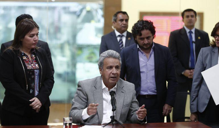 El presidente de Ecuador, Lenín Moreno en rueda de prensa.