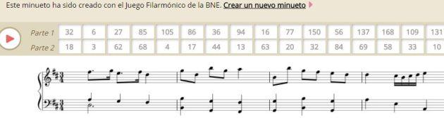 Minueto creado con el Juego Filarmónico de la BNE.