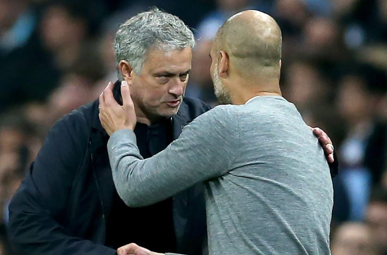 Mourinho y Guardiola durante el último derbi