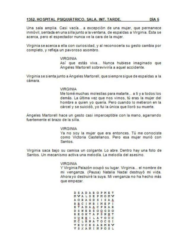 Última página del guion de la T1. Sopa de letras con pistas de la T2 para los actores