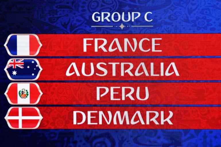 Francia, Australia, Perú y Dinamarca forman el grupo C